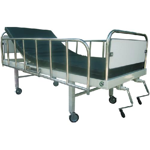 เตียงผู้ป่วย 2 ไก มือหมุน หัว-ท้ายเตียงบุโฟเมก้าสีขาว รับน้ำหนักได้ 150 กิโลกรัม