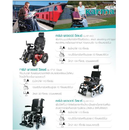 รถเข็นผู้ป่วยและผู้สูงอายุ / Wheelchair ระบบไฟฟ้า ยี่ห้อ KAMA รุ่น KP-10.3 Nimble รับน้ำหนักได้ 115 กิโลกรัม