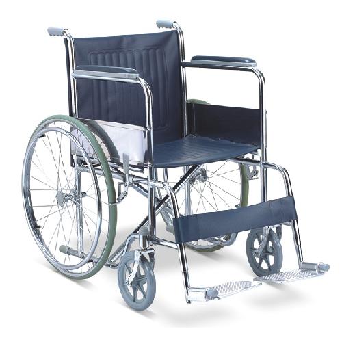 รถเข็นผู้ป่วยแบบมาตรฐาน รุ่น FS809 ผลิตจากเหล็กชุบโครเมี่ยม