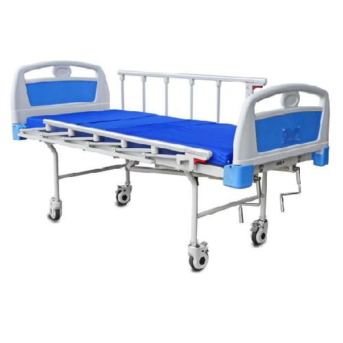 เตียงผู้ป่วย 2 ไก มือหมุน ขาเตียงแบบกลม หัว-ท้ายเตียง ABS เตียงสูงจากพื้น 50 ซม.รับน้ำหนักได้ 150 กิโลกรัม