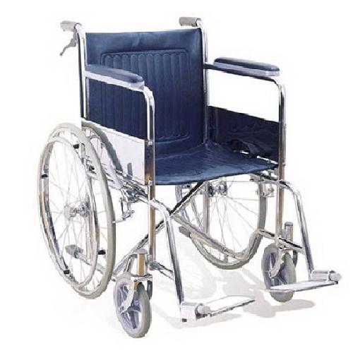 รถเข็นผู้ป่วยผู้สูงอายุ / Wheelchair มีเบรคมือ ผลิตจากเหล็กชุบโครเมี่ยม รับน้ำหนักได้ 100 กิโลกรัม