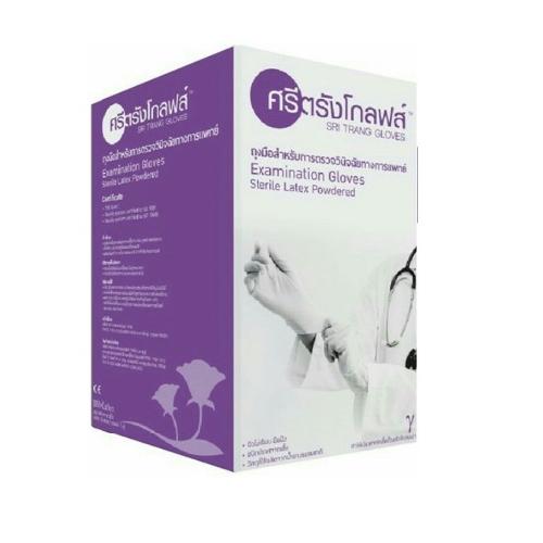 ถุงมือตรวจโรคสเตอร์ไรด์ ยี่ห้อ ศรีตรังโกลฟ กล่องละ 50 คู่ ขนาด L