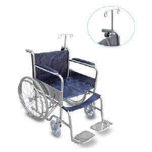 รถเข็นผู้ป่วยผู้สูงอายุ / Wheelchair มีเสาน้ำเกลือ ผลิตจากเหล็กชุบโครเมี่ยม รับน้ำหนักได้ 100 กิโลกรัม