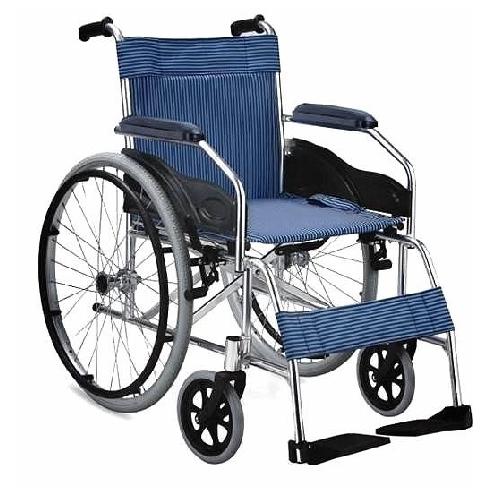 รถเข็นผู้ป่วยผู้สูงอายุ / Wheelchair แบบอลูมิเนียม รุ่น เบาะผ้า น้ำหนักเบา รับน้ำหนักได้ 100 กิโลกรัม