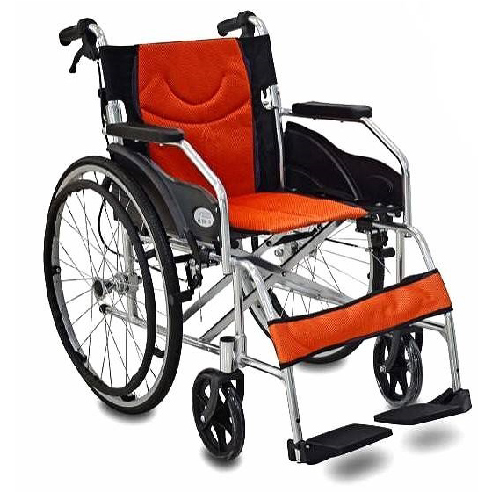 รถเข็นผู้ป่วยผู้สูงอายุ / Wheelchair แบบอลูมิเนียม มือจับพับลงได้ เบาะผ้า น้ำหนักเบา รับน้ำหนักได้ 100 กิโลกรัม