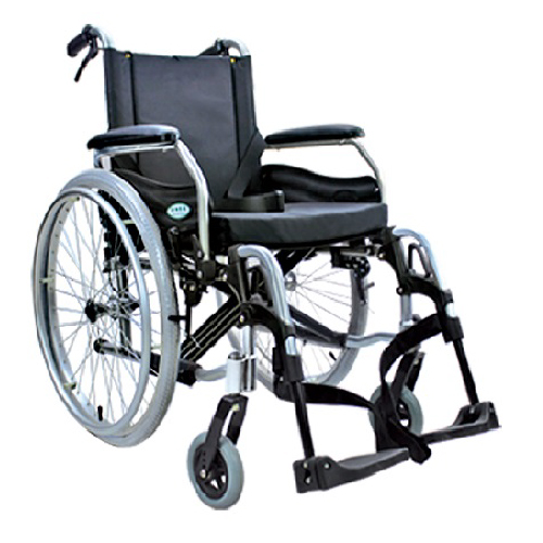 รถเข็นผู้ป่วยผู้สูงอายุ / Wheelchair สำหรับคนอ้วน แบบอลูมิเนียม เบาะหนังเสริมฟองน้ำ รับน้ำหนักได้ 150 กิโกกรัม