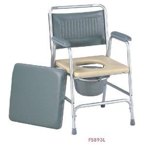 เก้าอี้นั่งถ่ายอลูมิเนียม พร้อมถัง รุ่น FS893L พับเก็บไม่ได้ ปรับระดับสูง-ต่ำได้ 5 ระดับ